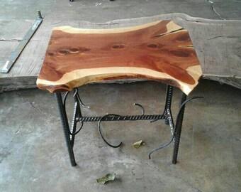 Live edge red cedar and iron rebar end table pair.
