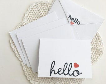 Hello card set of 4