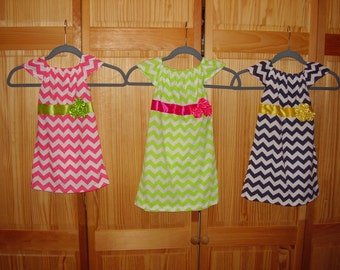 Chevron Little Girls Dress in 3 Colors and 4 sizes-Chevron Baby Girls Dress - 2YRS to 6YRS