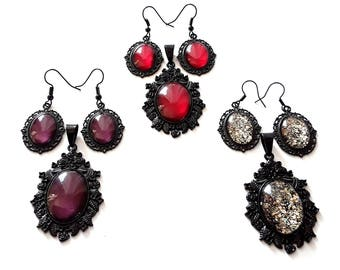 Pendant earrings Set Shiny metallic glitter black colored jewelry Necklace Gothic Ornate Valentine's Day gift