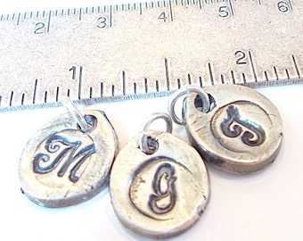 Petite Add-On Wax Seal Silver Stamped Initials. Sweet Petal Shape.  Great NEW Moms GIFT  Grandchildren, Charm Bracelets