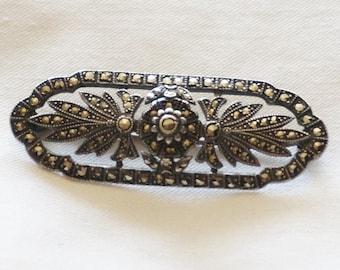 Vintage Art Deco Sterling Silver Marcasite Floral Spray Brooch Pin
