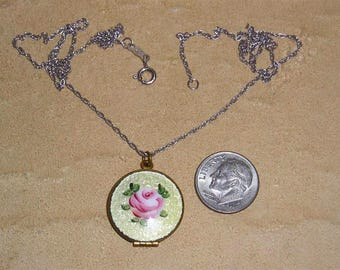 Vintage Guilloche Rose Solid Brass Locket On Sterling Silver Chain Necklace 1940's Jewelry 91