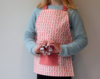 Pink Kids Apron, Montessori Apron for Girls, Children's Art Smock, Handprinted Cotton Canvas, Fits 3-7