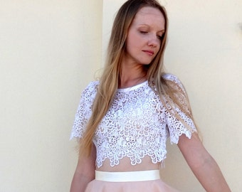 CROP TOP Scalloped White Lace  Short Sleeve with Satin finishes/Prom Dress/ Party Dress/Formal Dress/robe de mariée