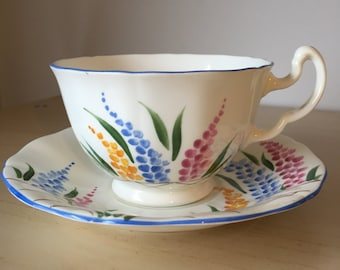 Adderley Vintage Teacup and Saucer, Hand Painted Flower Tea Cup and Saucer, Blue, Pink and Yellow Foxgloves, English Bone China, 1940s