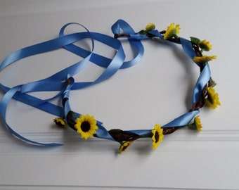 Periwinkle Sunflower crown Bridal floral hair wreath spring summer wedding accessories flower girl halo artificial garland blue yellow