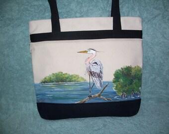 Hand painted canvas Blue Heron Handbag