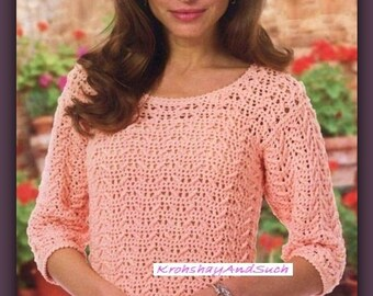 Ladies Blouse, Sweater, Crochet Pattern. PDF Instant Download.