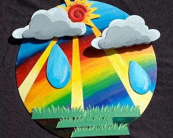 Bright colorful sunny rainbow rainstorm wall decor