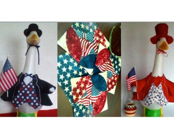 """SPECIAL:  Goose Clothing - One (1) Uncle Sam and Two (2) Patriotic Quilted Reversible Coasters - Measuring 5.5"""" by 5.5"""""""