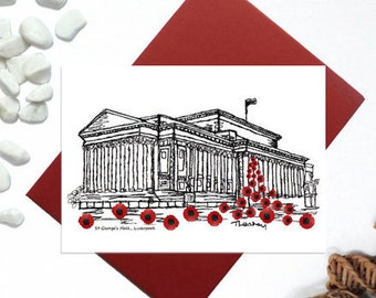 St Georges hall with poppies card - waterfall of poppies - Liverpool St Georges hall greeting card - Liverpool landmark card - A6
