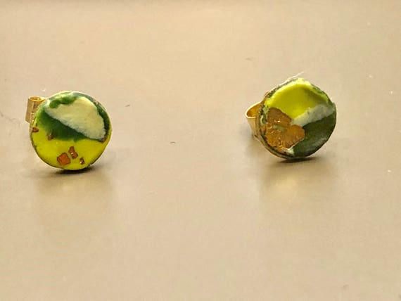 SJC10030 - Earrings - contemporary handmade green/yellow/gold polymer clay 14K gold filled studs