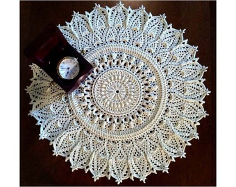 "Crochet Doily Cream – 15"" Diameter – Round Lace Doily – Crochet Table Topper – Centerpiece –Textured Doily 3D - Gift Idea."