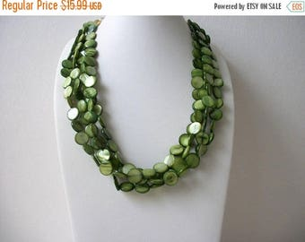 ON SALE Vintage Chunky Green Shell Disc Shorter Length Heavier Necklace 31417