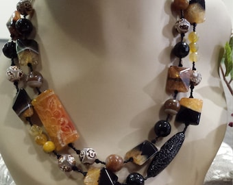Two strand beaded faceted assorted stones and colors necklace