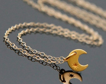 Crescent MOON Gold Necklace, Tiny Moon Gold Necklace, Luna Necklace.