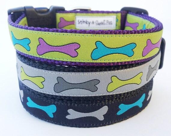 Funny Bone - Dog Collar / Pet Accessories / Adjustable / Handmade / Dog Bone