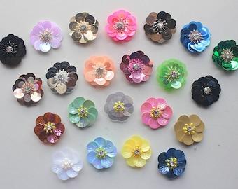 50pcs/lot 3D Sequin Flowers Handmade Sew-on Patches DIY Wedding Crafts Shoes Bags Garment Design Accessory 3cm