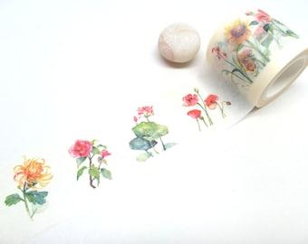 Floral Washi Tape, Flower Washi Tape 4 cm x 10m