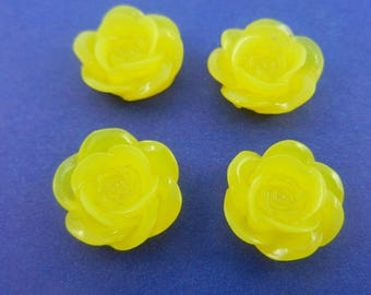 18mm round rose flower resin transparent  cabochons medium yellow color 8 pieces 001