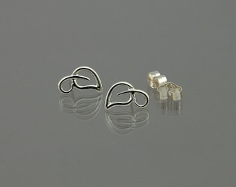 Tiny open leaf stud/pole earrings hand crafted in 925 sterling silver