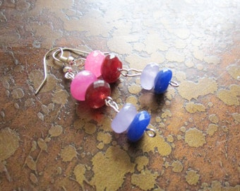 Color Blast Rainbow Agate Beaded Dangle earrings