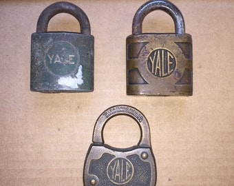 Nice Vintage Collectible Brass Body Locks by Yale Lock Company The Yale and Towne