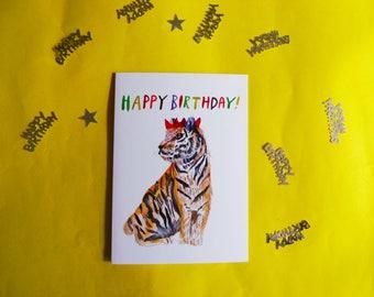 Happy Birthday A6 Tiger Card
