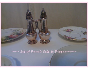 Shabby Silverplate French Salt and Pepper Shaker Set ~
