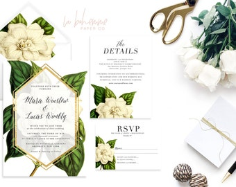 Printable Wedding Invitation Suite / Wedding Invite Set - The  Mara Botanical Suite