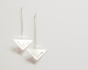 Long silver triangle earrings, lightweight and very comfortable to wear, fine handsawn branches and delicate details, with brushed finish