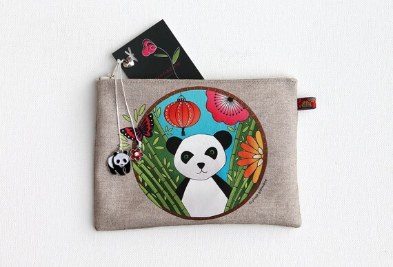 """Multifunctional illustrated """"Panda totem"""" natural linen pouch"""