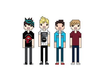5 Seconds of Summer (5SOS) cross stitch pattern
