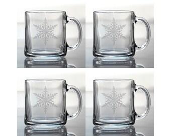 Snowflake Coffee Mugs / Set of 4 / Free Personalization / 13 oz Glass Coffee Mug / Hot Chocolate Mug / Personalized Gift / Personalized Mug