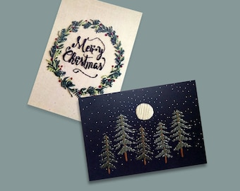 set cards Christmas postcards