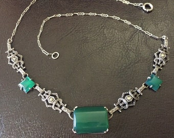 Art Deco Antique Sterling Silver Chrysoprase Necklace