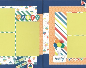 12x12 PARTY BOY scrapbook page kit, premade scrapbook, 12x12 premade scrapbook page, premade scrapbook pages, 12x12 scrapbook layout