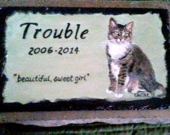 Pet Memorial Garden Stone,slate, concrete,outdoor pet memorial,garden marker,custom painted pet memorial stone, personalized,,cat, dog,pet