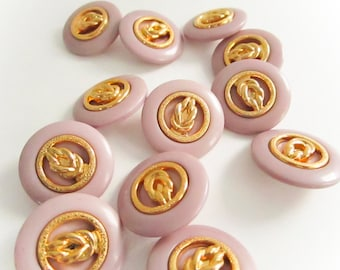 Vintage Lilac Gold Rope Buttons, Large Plastic Buttons, Vintage Buttons,Shank backing, Button jewelry, sewing buttons, craft supplies