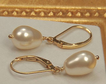 Gold Pearl Earrings, Bridal Earrings, Wedding Earrings, Bridesmaid Jewelry, Bride Gift, Swarovski Pear Pearls on 14K Gold Filled Leverbacks