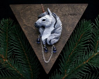 Unicorn Brooch, unicorn totem, magic Brooches, Unicorn Art,Fantasy,Jewelry,Horse Fantasy,JewelryAnimal,Creature Fantasy,Jewelry Unicorn