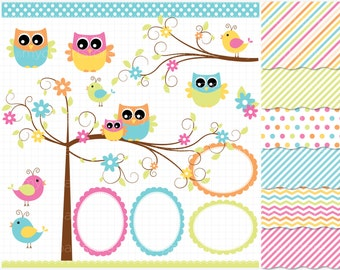Clipart Combo - Owls In The Forest Clip Art / Digital Clipart - Instant Download