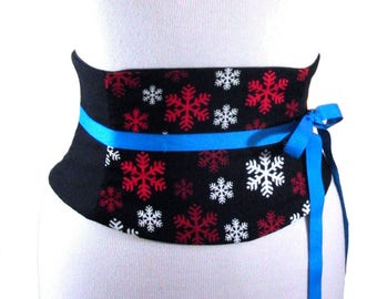 Winter Corset / Snowflake Waist Cincher / Under Bust Belt / Red White Black / Christmas Corset / Winter Costume / Ice Queen / Steel Boning