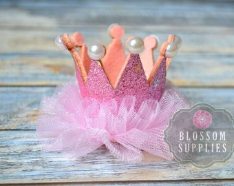Pink Glitter Pearl Ruffle Tulle Crowns - DIY Birthday Tiara Crown Headband Clip Hat - Wholesale Craft Supplies - 1st Birthday Bow