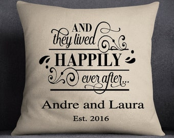 Happily Ever After Pillow, Family Pillow, Wedding Gift, Personalized Pillow, Housewarming Gift, Custom pillow, Insert included