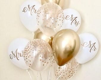 NEW Chrome Gold Mr & Mrs and Confetti Balloons~Wedding Balloon~Bridal Shower Balloons~Confetti Look Balloon~Chrome Gold Balloon~Mr Mrs Decor