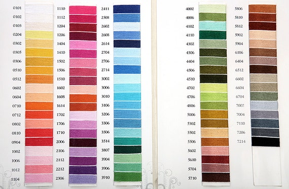 Color chart scheme of cotton yarn for crochets and balls for