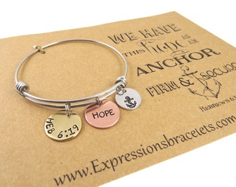Christian Jewelry - Scripture Jewelry - Hand Stamped Jewelry - Heb 6:19- Bible Verse Jewelry - Expressions Bracelets - Anchor Hope