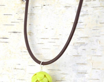 Hop Necklace on Leather Necklace  for your FAVORITE Hop Head - Beer Diva Jewelry - Beer Gear -Hop Jewelry - Hop Head Accessories